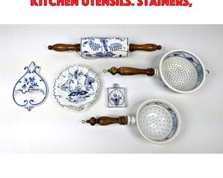 Lot 223 6pcs German Blue and white Kitchen Utensils. Stainers,