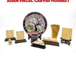 Lot 225 8pc Collection of Carved Asian Pieces. Carved Figures i