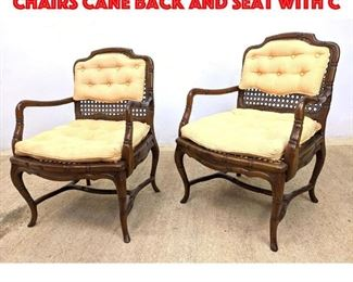 Lot 227 Pair French Style Cane Chairs Cane back and seat with c
