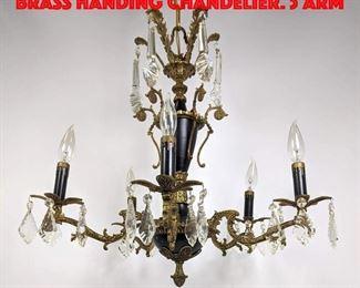 Lot 233 Regency style Black and Brass Handing Chandelier. 5 Arm