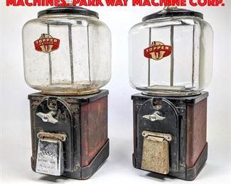 Lot 238 2pcs TOPPER 1c Gum ball Machines. PARKWAY Machine Corp.