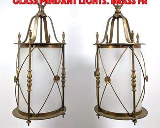 Lot 241 Pr Lantern style Frosted Glass Pendant Lights. Brass fr