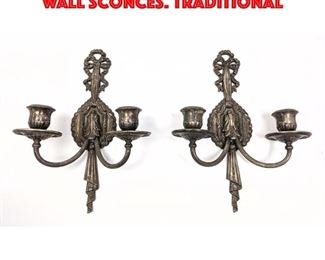 Lot 242 Pr LIGHTOLIER Silvered metal Wall Sconces. Traditional