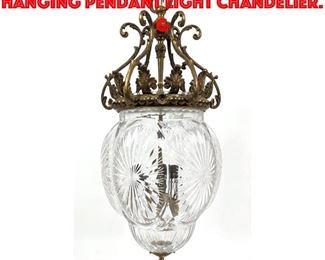 Lot 244 Vintage Cut Crystal Hanging Pendant Light Chandelier. G