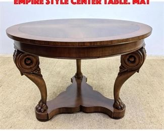 Lot 248 DECORATIVE CRAFTS Carved Empire Style Center Table. Mat