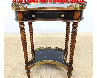Lot 249 Maitland Smith Style Kidney Side Table with Brass Galle