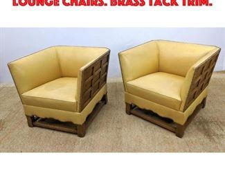 Lot 251 Pr Paneled Wood Frame Lounge Chairs. Brass Tack Trim.