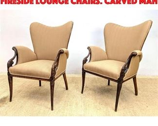 Lot 254 Pair Carved Mahogany Fireside Lounge Chairs. Carved Mah