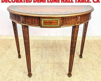 Lot 255 MAITLAND SMITH Paint Decorated Demi Lune Hall Table. Ca