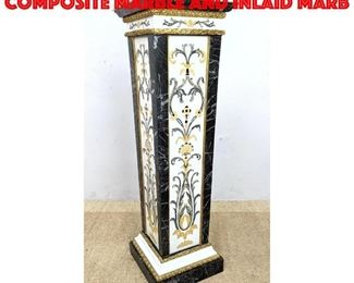 Lot 260 Large Inlaid Pedestal. Composite Marble and Inlaid Marb
