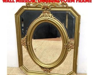 Lot 262 Ornate Gilt carved Wood Wall Mirror. Unusual form frame