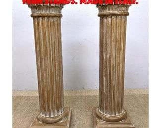 Lot 263 Pair Column Form Pedestal Fern Stands. Made in Italy.
