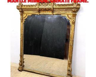 Lot 264 Antique Gold Gilt Over Mantle Mirror. Ornate frame.
