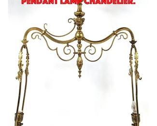 Lot 266 Vintage Bronze Double Arm Pendant Lamp Chandelier.