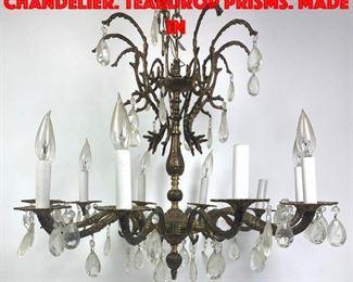 Lot 268 Gold Metal Hanging Chandelier. Teardrop Prisms. Made in