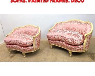 Lot 269 Pair French Style Love Seat Sofas. Painted Frames. Deco