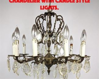 Lot 271 Fancy Small Metal Chandelier with Candle style Lights.