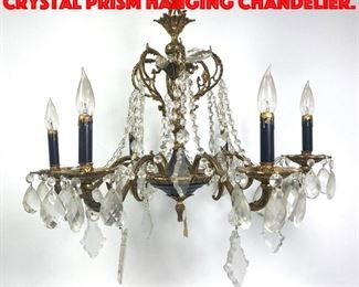 Lot 272 Decorative Brass And Crystal Prism Hanging Chandelier.
