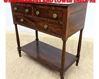 Lot 278 Antique Server Cabinet with Drawers and Lower Shelf. He