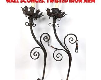 Lot 283 Pr Wrought Iron Outdoor Wall Sconces. Twisted Iron Arm