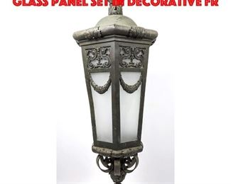 Lot 284 Hanging Pendant Light. Glass panel set in decorative fr