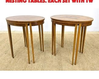 Lot 285 2 sets BAKER Furniture Nesting Tables. Each set with tw