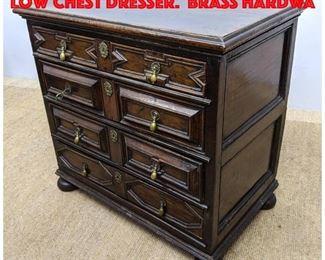 Lot 289 Antique Jacobean Style Low Chest Dresser. Brass hardwa