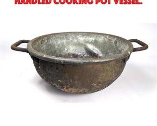 Lot 291 Vintage Heavy Metal Two Handled Cooking Pot Vessel.