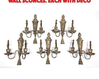 Lot 292 Set 5 Silver Metal Vintage Wall Sconces. Each with deco