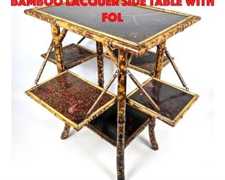 Lot 294 Japanned Asian Style Bamboo Lacquer Side table with Fol
