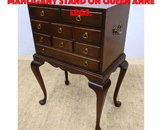 Lot 296 Nice Reproduction Mahogany Stand on Queen Anne Legs.