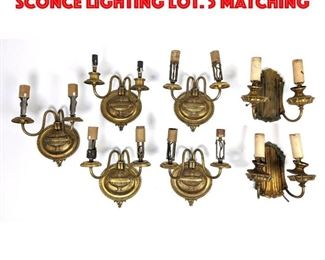 Lot 297 7pc Vintage metal Wall Sconce Lighting Lot. 5 Matching