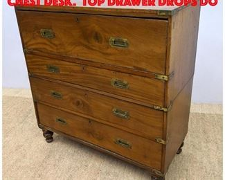 Lot 298 Antique Campaign Style Chest Desk. Top drawer drops do