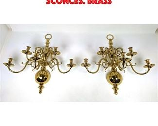 Lot 299 Pr Five Arm Candle Wall Sconces. Brass