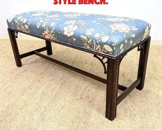 Lot 300 HICKORY CHAIR Chippendale style bench.