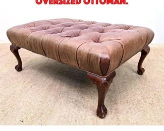 Lot 301 ETHAN ALLEN Tufted Leather Oversized Ottoman.