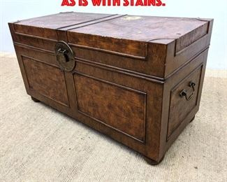 Lot 306 Contemporary Trunk Table As is with Stains.