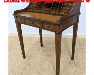 Lot 307 ETHAN ALLEN Burl Wood Ladies Writing WFH Desk. Fitted w