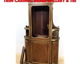 Lot 308 Vintage Mahogany Gilt Trim Cabinet. Brass Gallery Tri