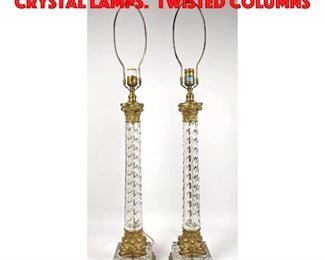 Lot 309 Pair Gilt Metal Mounted Crystal Lamps. Twisted Columns