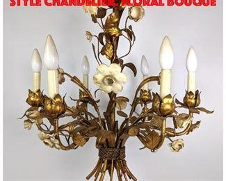 Lot 310 Fancy Gilt Iron Italian style Chandelier. Floral bouque