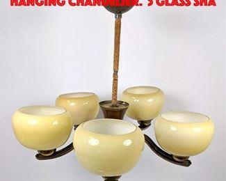 Lot 311 Vintage Art Deco Metal Hanging Chandelier. 5 Glass Sha