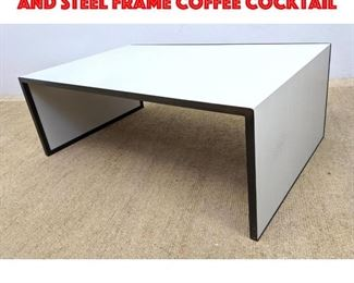 Lot 312 Decorator Painted Wood and Steel Frame Coffee Cocktail