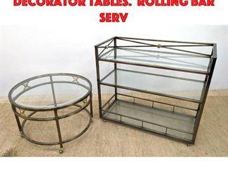 Lot 313 2 pcs Regency Style Decorator Tables. Rolling Bar serv