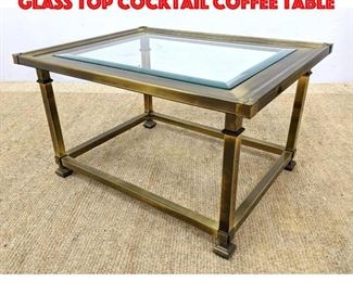 Lot 314 Mastercraft Style Brass Glass Top Cocktail Coffee Table