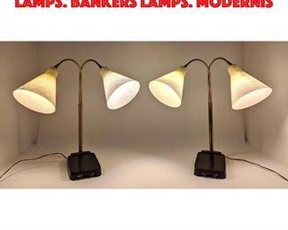 Lot 315 Pr Double Arm Table Desk Lamps. Bankers Lamps. Modernis
