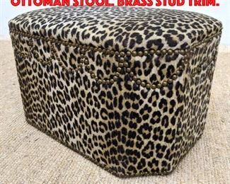 Lot 323 Plush Faux Leopard Ottoman Stool. Brass Stud Trim.