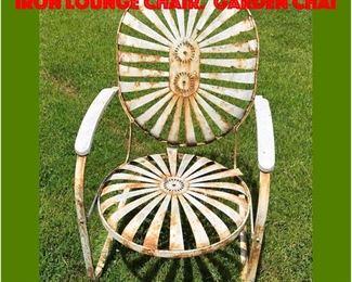 Lot 326 Francois Carre SUNBURST Iron Lounge Chair. Garden Chai