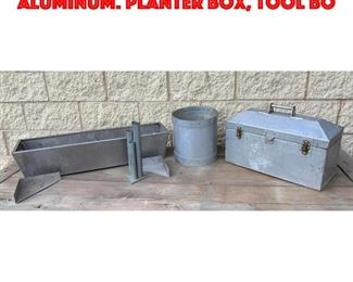 Lot 327 4 pcs Industrial Tin and Aluminum. Planter box, Tool bo