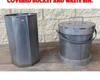 Lot 328 2pcs Industrial Tin. Covered bucket and waste bin.